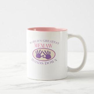 Best Memaw Hands Down T-shirt Two-Tone Coffee Mug