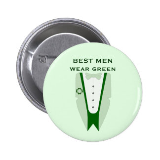 Best Men Wear Green - Best Man Wedding Button 2 Inch Round Button