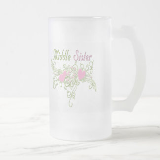 Best Middle Sister Swirling Hearts Frosted Glass Beer Mug