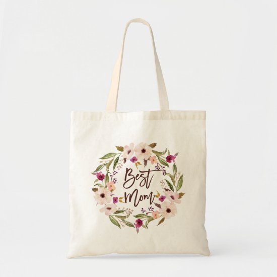 Best Mom | Bohemian Watercolor Floral Wreath Bag