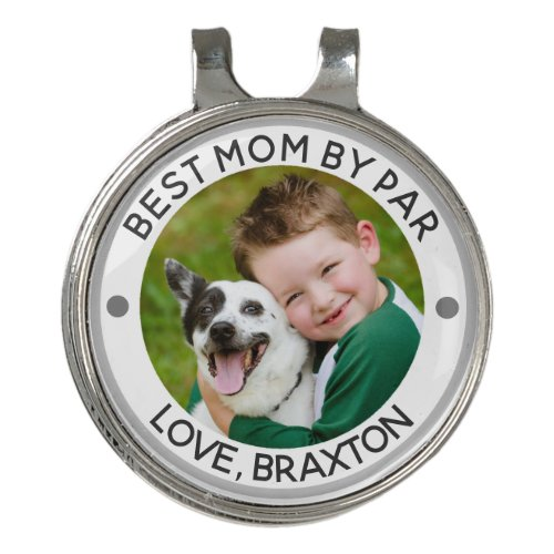 BEST MOM BY PAR Photo Personalized Golf Hat Clip