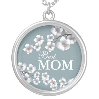 Best Mom Cherry Blossoms Brown and Blue Round Pendant Necklace