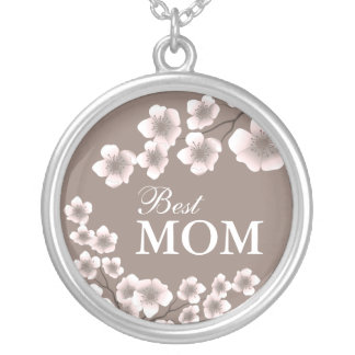 Best Mom Cherry Blossoms Pink and Brown Round Pendant Necklace