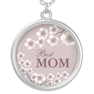 Best Mom Cherry Blossoms Plum and Brown Round Pendant Necklace