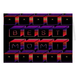 Best Mom Colored Blocks & Black Background Greeting Card