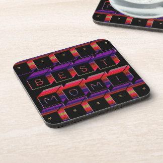 Best Mom Colored Blocks & Black Background Drink Coaster