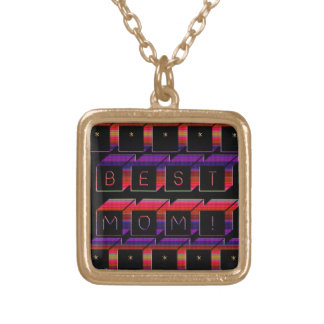 Best Mom Colored Blocks & Black Background Gold Plated Necklace
