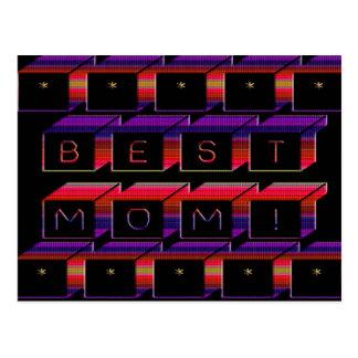 Best Mom Colored Blocks & Black Background Postcards