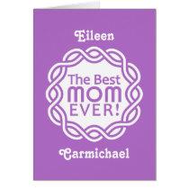 BEST MOM custom monogram greeting card