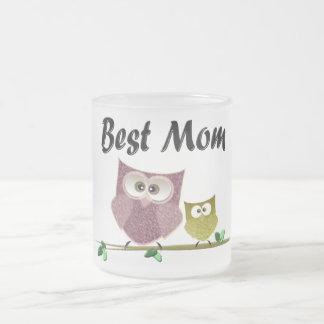 Best Mom cute Owls art Frosted Glass Coffee Mug