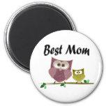 Best Mom, cute Owls art Magnet