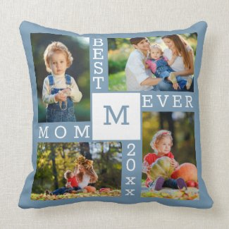 Best Mom Ever 4 Photo Collage Blue White Monogram Throw Pillow