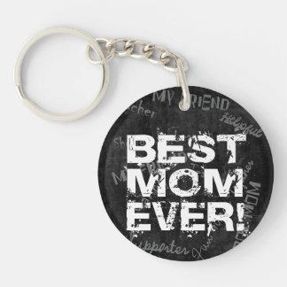 Best Mom Ever, Black/White Grunge Keychain