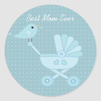 Best mom ever blue bird mother baby pram classic round sticker