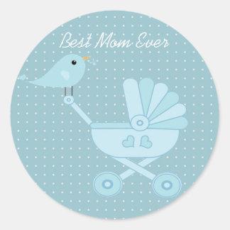 Best mom ever blue bird mother baby pram classic round sticker