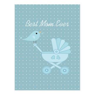 Best mom ever blue bird mother baby pram postcard