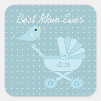 Best mom ever blue bird mother baby pram square sticker