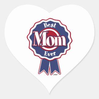 Best Mom Ever Blue Ribbon Heart Sticker