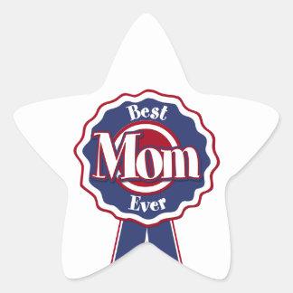Best Mom Ever Blue Ribbon Star Sticker