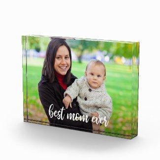 Best Mom Ever Chic White Script Custom Photo Acrylic Award