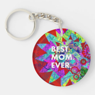 BEST MOM EVER Colorful Floral Mothers Day Gifts Keychain