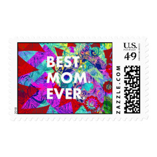 BEST MOM EVER Colorful Floral Mothers Day Gifts Postage