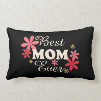 Best Mom Ever Cream/Pink on Black Pillow