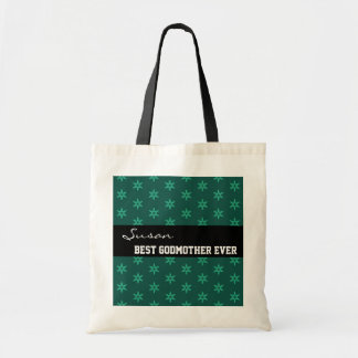 Best Mom Ever Custom Name Green Stars Black W1342 Tote Bag