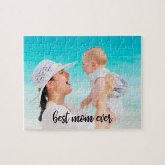 Best Mom Ever Custom Photo Modern Black Script Jigsaw Puzzle