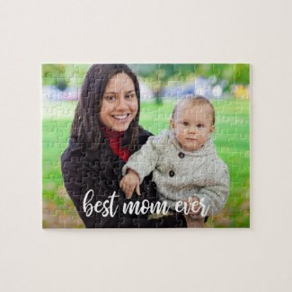 Best Mom Ever Custom Photo Modern White Script Jigsaw Puzzle