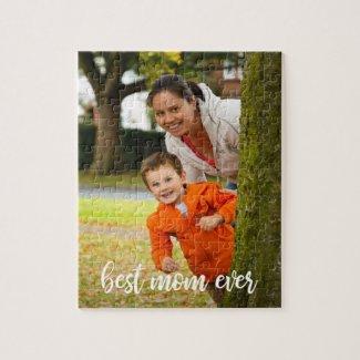 Best Mom Ever Custom Vertical Photo White Script Jigsaw Puzzle
