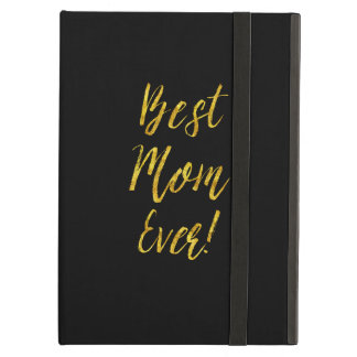 Best Mom Ever Gold Faux Glitter Metallic Sequins iPad Air Cover