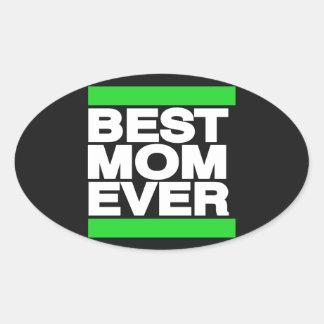 Best Mom Ever Green Oval Sticker