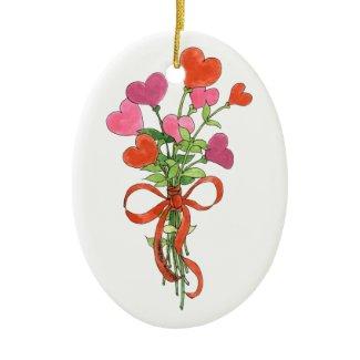 Best Mom Ever Heart Bouquet Ornament zazzle_ornament