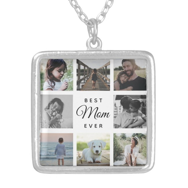 Best Mom Ever Modern Photo Collage Instagram Silver Plated Necklace