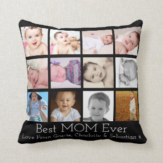 Best Mom Ever Personalized Photo Template Throw Pillow