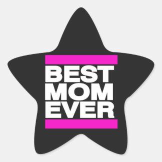 Best Mom Ever Pink Star Sticker