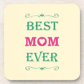 """Best Mom Ever"" Pretty Text Art Design Coaster"