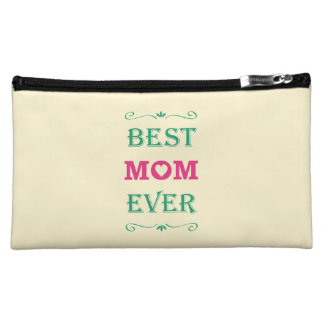"""""""Best Mom Ever"""" Pretty Text Art Design Cosmetic Bag"""