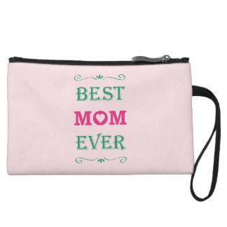 """Best Mom Ever"" Pretty Text Art Design Wristlet"
