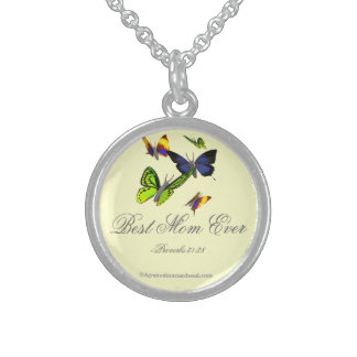 Best Mom Ever Proverbs 31:28 Mother's Day Round Pendant Necklace
