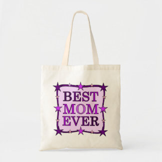 BEST MOM EVER purple Typography Quote Text Tote Bag