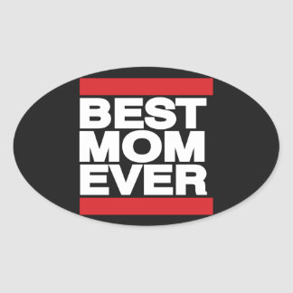 Best Mom Ever Red Oval Sticker