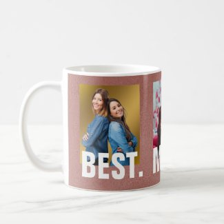 Best Mom Ever Rose Gold Family Photo Collage Coffee Mug