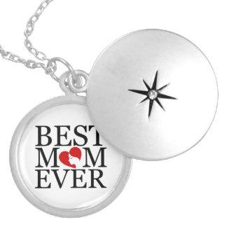 Best mom ever round locket necklace
