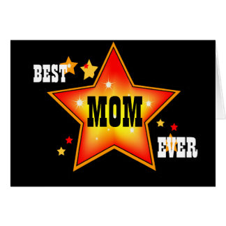 Best Mom Ever Star Greeting Card Template