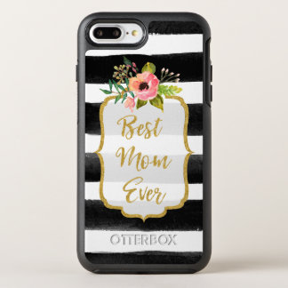 Best Mom Ever Watercolor Gold Floral Striped OtterBox Symmetry iPhone 7 Plus Case