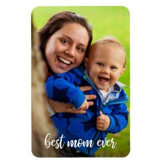 Best Mom Ever White Script Photo Template Magnet