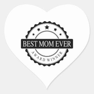 Best mom ever - Winner Award - Black Heart Sticker