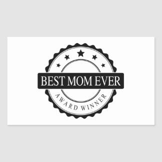Best mom ever - Winner Award - Black Rectangle Stickers
